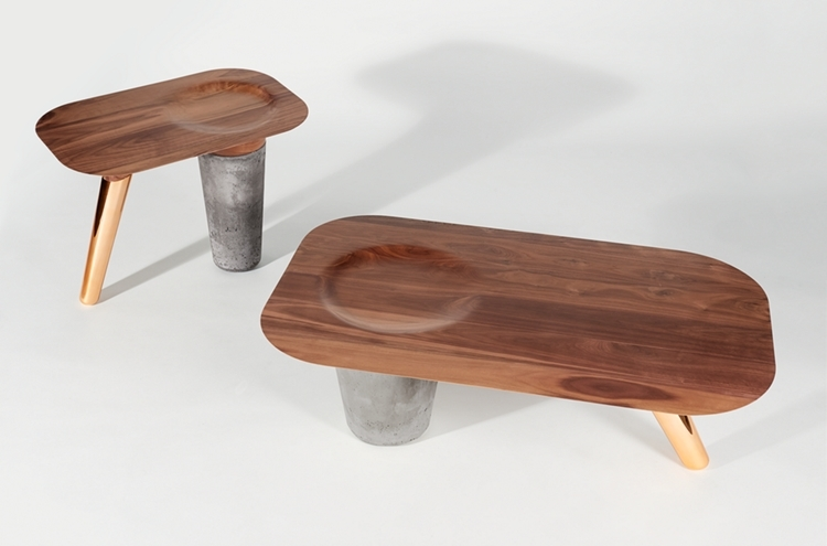 CS 1 Table Uses Wood For The Top Copper A Leg And Concrete Another Leg TrendSpace