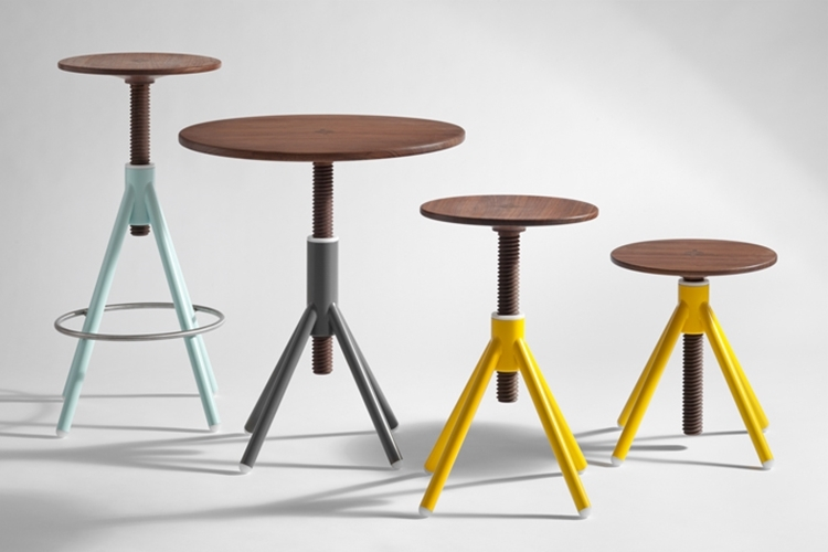 Thread Family Stools And Bistro Table Use BoltLike Connectors To - Adjustable height cafe table